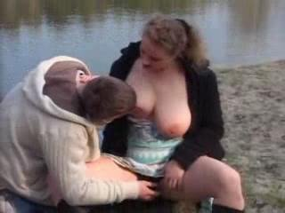 Amateur  Young dude and busty  woman outdoor