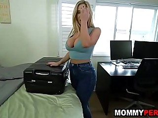 Milf mom with big tits and ass fucks stepson